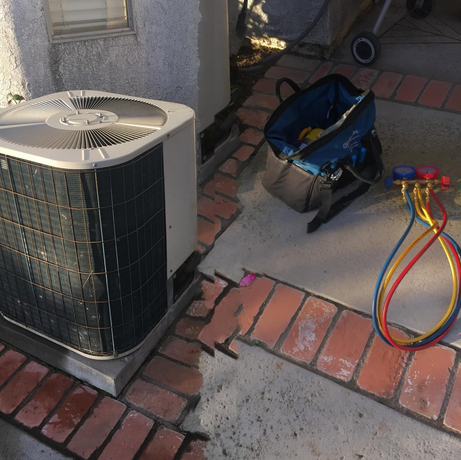 Air conditioning and heating unit replacement in chino hills for Ac condenser pad installation
